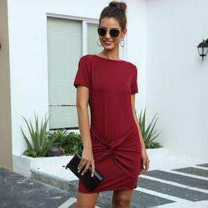 A-line Summer Above Knee, Mini Short O-neck Streetwear Solid Natural Sashes Regular Vestidos Msfilia