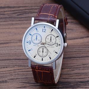 Explosive Gift Gift Men's Watch Belt Men's Hombres Cuarzo Reloj Azul Tres ojos Reloj Khwxo