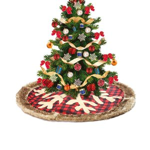 Fiocco di neve Albero di Natale gonna Dia 90 centimetri plaid rosso Xmas Tree Skirt Carpet decorazione domestica creativa ornamenti Mat 1pc di Natale Props