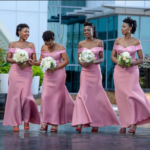 Pink Sequined Mermaid Bridesmaid Dresses Off The Shoulder Neck Maid Of Honor Gowns Floor Length Wedding Guest Dress