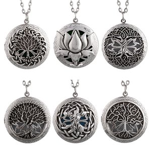 1pc Celtics Knots Tree of Life Essential Oil Diffuser Locket Necklace Pendant Lotus Tree of Life Collections Aroma Jewelry
