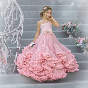 Lovely Lace A Line Beaded Flower Girl Dresses For Wedding Ruffled Toddler Pageant Gowns Floor Length Tulle Kids Prom Dress