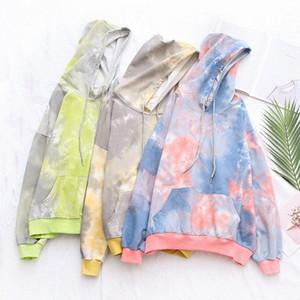 Women Contrast Color Print Hoodie Fashion Sweatshirts Long Sleeve Loose Streetwear Female Hooded Jumper Hooded Pullover Casual Tops 0PPJ#