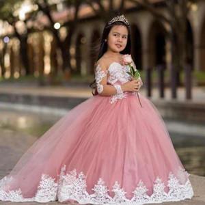 Flower Girl Dresses Lace Cute Pink vestidos de desfile de niñas illusione maniche lunghe in pizzo bianco sfera di Applique Prima Comunione Dress C53