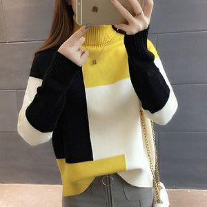 Lucyever remiendo de las mujeres suéter suéter flojo del cuello de O otoño de manga larga de punto grueso de Corea de manera femenino de la tapa del suéter del puente