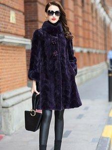 Gerçek Kürk Yeni Stil Bayan Moda Mink Palto Natürel Overcoat itibaren Gerçek Deri Kadınlar Yaka Coat