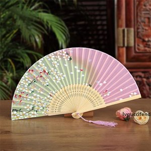 Japanese style Fan Silk Female Fans Peony Chinese Painting Picture Retro Fans Silk Folding Hold Fan 11 colors Party Favor 200pcs T1I1760