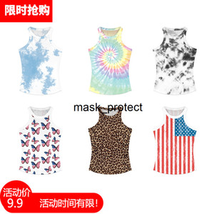 Black ink digital printing women's slim round collar I-shaped vest sexy summer top