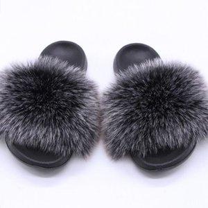Vieruodis fourrure Pantoufles femmes Fourrure véritable Toboggans Accueil Furry Sandales plates Femme Mignon Maison Fluffy Chaussures Femme 2020
