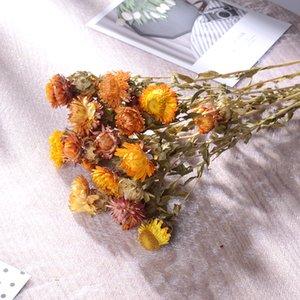 Marchwind Naturally Dried New Happy Chrysanthemum Artificial Flower Bouquet Floral Decor Fake Flower Daisy DIY Garland Home Wedding Decor