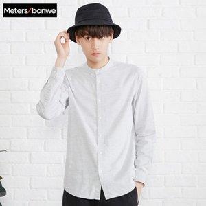 Metersbonwe Brand New Men Casual рубашки весна осень Самец Тонкий с длинным рукавом рубашки регулярные верхние части хлопка Мужской подросток