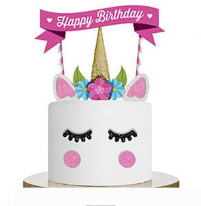 Unicorn Cake Topper Happy Birthday Party Supplies DIY Decor Party Cake Decoration for Baby Shower Wedding NN