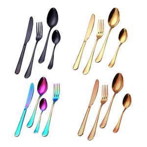 Rainbow Stainless Steel Dinnerware Reusable Flatware Set Kitchen Dining Outdoor Dining Knife Spoon Fork Dinnerware Sets 4pcs