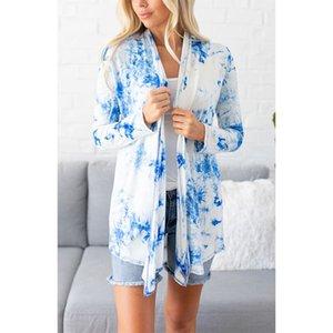 Moda Kadın Tasarımcılar Açık Dikiş Coats Yaz Tie Tye Uzun Kollu Ceket Casual Nefes Erkek Giyim