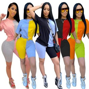Frauen Sets Sommer Tracksuits Patchwork Sport Tops + Shorts Anzug Zweiteiler Club Party Street 2 Stk Sexy Outfits