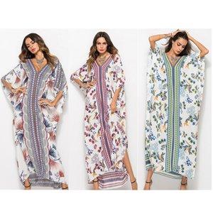 Женщины Макси платья Bat рукавом V Шея Длинная Robe Лето Туники Сыпучие печати мода платье