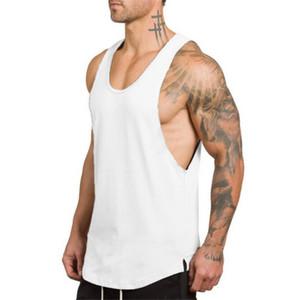 Mens Regatas Cotton respirável mangas soltas Mens Regatas Solid Color aptidão V Neck Homem de alças