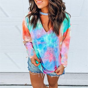 Tie Dye Womens Tees V Neck Halter Floral Autumn Womens Designer T Shirts Casual Long Sleeve Loose Spring Female Tshirts