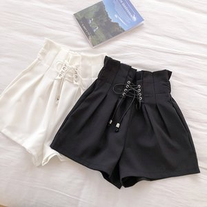 HELIAR 2020 Spring Drawstring Shorts Women's Black Pleated Waist Casual Solid Short Autumn Femme Elegant Spring Shorts For Women