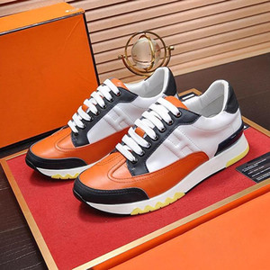 2020 Mens Shoes Casual Trail Sneaker In Calfskin Men Shoes Big Size Leather Rubber Sole Fashion Luxury Footwear Chaussures Pour Hommes Male