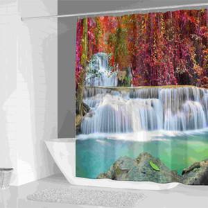 커튼 3D 폭포 새 목욕 커튼 방수 샤워 커튼 욕실 샤워 커튼 풍경 샤워