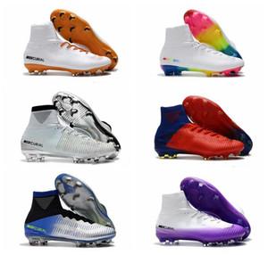 2019 hombres tacos de fútbol Mercurial Superfly V Ronalro FG zapatos del fútbol de interior cabrito botas de fútbol Neymar CR7 chicos botas rápido creciente Empaque v barato
