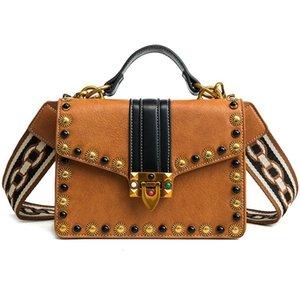 British Fashion retrò femminile borsa di 2020 Cuoio Donne Borse Rivet Tote Ragazze Shoulder Bag Messenger