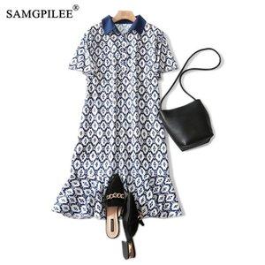Women Dresses Summer 2020 Casual Trumpet Mermaid Print Short Sleeve Button Plus Size Dress Empire Summer Clothes For Women