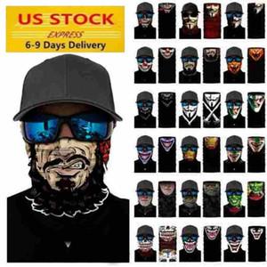 El envío de US Cosplay de bicicletas Ski cráneo mitad que cubre la cara de Halloween máscara del fantasma de la bufanda pañuelos de cuello más cálido Partido diadema mágica turbante FY7140