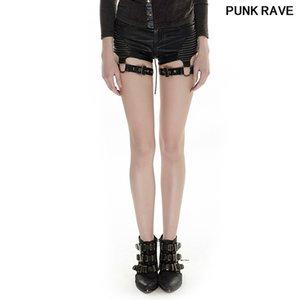 Fashion Sexy slim Women Close-fitting Leather mini Shorts Gothic personality belt buttons High Waist Short pants PUNK RAVE K-248