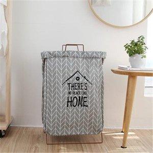 Nordic Toy Storage Basket Foldable Iron cotton Pattern storage Bag Home Organizer fashion Toy Clothes Storage Laundry Bag Hamper T200602