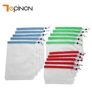 15pcs reutilizável malha produzir sacos Bolsas lavável para compras na mercearia de armazenamento Fruit Vegetable Brinquedos Diversos Organizador Storage Bag C19030201
