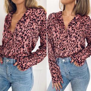 Longue Blouse Ebaihui Femmes Printemps Automne T-shirts manches Bouton 2020 solide en mousseline de soie d'été Femme Vêtements Grandes Tailles Tops impression Leopard