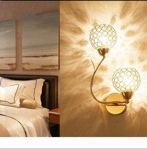 Golden Double-headed K9 Crystal Wall Lamp Creative Arts Berth Lamp Crystal Ball LED Wall Lights Indoor Lighting E14 Bulb LED Mirror Light