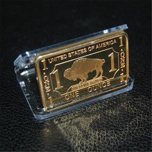 Gold BUFFALO Bar 1Oz .999 Fine Gold BULLION Bar 1 Ounce ''Gold'' Plated souvenir coin 2pcs lot Free shipping