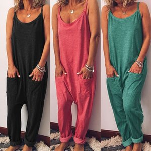 2020 summer New Clothing Cheap China wholesale European and American Women's Jumpsuits Sleeveless loose solid color suspenders jumpsuit