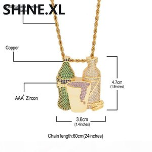 I Iced Out Sprite Bottle Purple Cup Pendant Necklace Hip Hop Gold Silver Chain For Men Women