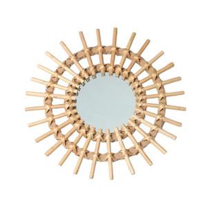 Rotin Innovative Art Décoration Miroir rond Maquillage Dressing Salle de bain mur Chambre suspendu Miroir Miroir décoratif