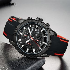 MEGIR Men's Fashion Sports Quartz Watches Luminous Silicone Strap Chronograph Analogue Wrist Watch for Man Black Red 2055G-BK-1 T200723