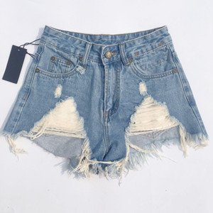 High quality King tie dyed zipper denim shorts woman 2020 summer high waist personality perforated hot fashion pants woman size M-XL z TwOV#
