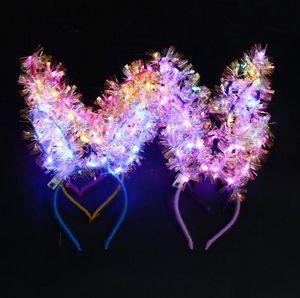LED Bunny Ear Headband Light Up tassel Hairband kids Adult Wedding Halloween Christmas Birthday Party Glow Decoration favor SN4530