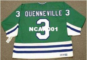 Mens # 3 Joel Quenneville Hartford Whalers 1988 CCM Vintage Zuhause-Hockey Jersey oder benutzerdefinierten beliebigen Namen oder Nummer Retro Jersey