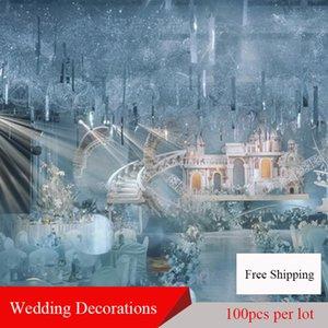 100pcs Lot PVC Wedding Decor Background Hanging Pendant Mirror Reflective Rectangular Sequins Stage Party Decoration Ornaments