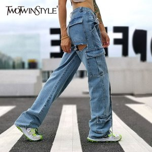 TWOTWINSTYLE Hollow Out Denim Women's Pants High Waist With Sashes Patchwork Tassel Pocket Female Jeans Fashion Autumn New 2020
