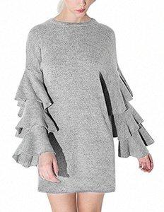 Partido corto vestido de Haoduoyi elegante para mujer volante de partido del mini vestidos de manga larga cascada largo del vestido de coctel jCQx #
