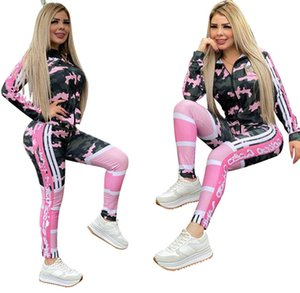 Fall winter Women designer tracksuit brand jogger suit two piece set long sleeve jacket+pants plus size outfits Casual print sportswear 3483
