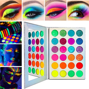 24 цвета Glow Eyeshadow Stage Clubbing Неон макияж Kit в Blacklight УФ свечение в темноте Флуоресцентные Eye Shadows