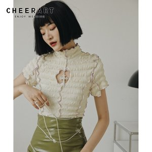 CHEERART Summer Short Sleeve Ruffle Blouse Women Turtleneck Ladies Tops Cut Out Ruched Frilly Top Aesthetic 2020 Y200622