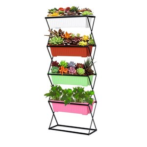 3 4 Tier Garden Planter Flower Pot Plant Holder Plant Stand Metal Folding Plant Stand Display Shelf 19.5KG 26KG Capacity Y200709