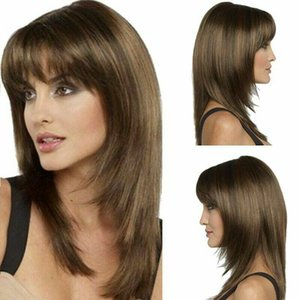 Women's Short Bob Full Wig With Bangs Natural Brown Cosplay Party Synthetic Hair